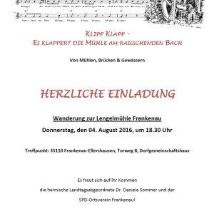Sommertour 2016 Einladung Lengelmühle Frankenau
