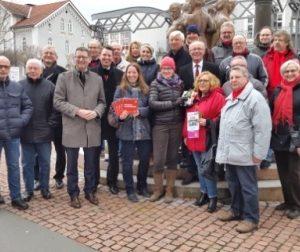 Wahlkampfstand in Bad Wildungen mit Thorsten Schäfer-Gümbel